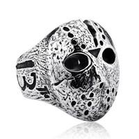 maskeli siyah maske adam toptan satış-Siyah Cuma Hokey Jason Maskesi SKull Yüzük Erkek Paslanmaz Çelik Takı Erkekler için Gümüş Cadılar Bayramı Jason Maskesi Yüzük Drop Shipping