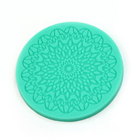 Wholesale Silicone Lace Mats - Wholesale- Flower Pattern Lace Round Silicone Cake Mold Mat Fondant Cake DIY Decorations Kitchen Baking Tool
