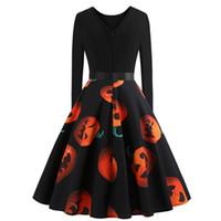 ingrosso zucca di halloween-New Halloween Stage Dress manica lunga Slim Fit Divertente Pumkin Ball Gown Festival Custome si adatta alle prestazioni Femme Performance