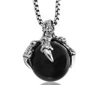 Wholesale Pendent Stones - 2018 Men Fashion Necklace Titanium steel dragon claw Black stone pendent necklace boyfriend gift punk wishes accessory anime jewelry 1pcs