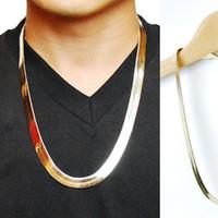 erkekler için altın yılan kolye toptan satış-18 k altın Yılan Zincir Butik 1 cm Düz Yılan / Ejderha Kemik Retro Hip Hop Balıksırtı Zincir Kolye Kadın Erkek Takı