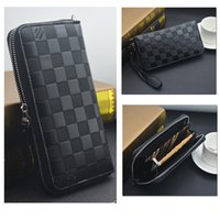 Wholesale function chain - Hot Fashion Lattice Multi-function Mobile Phone Package Wallet Brand Long Plaid Zipper PU Men Wallet Purse Practical Gifts Classic Style