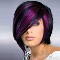 Wholesale black purple short wig - Shipping in 24 Hours Classiclal Black Mix Purple Short Straight Woman Hair Fashion Synthetic Wigs Natrural Full Wig For Daily Life