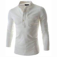 camisa henley hombres al por mayor-Polo de color sólido delgado Hombres 2016 Moda Stand Collar Polo de manga larga gris Camisa casual Henley de bolsillo falso