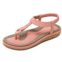 keilsandalen größe 42 großhandel-Sommer Schuhe Frauen Böhmen Ethnische Flip Flops Weiche Flache Sandalen Frau Casual Komfortable Plus Größe Keil Sandalen 35-42