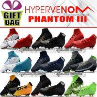 Wholesale toe heel socks - New 2018 High Ankle Football Boots Hypervenom Phantom III DF FG ACC Soccer Shoes EA Sports Hypervenom Indoor TF IC Turf Soccer Cleats Socks