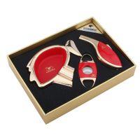Wholesale Lighter Cigar Cutter - COHIBA High grade red cigar set with Cartoon avatar shape ashtray ,cutter and lighter good gift for friend