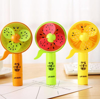 Wholesale pounding toys online - Watermelon Colored Print Mini Fans Summer Kids Hand Held Pressure Soft Leaves Fans Children Cool Outdoor Toys Gift GGA487