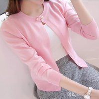Wholesale-New Solid Color Fashion Women Sweater Female Cardigan Thin  Outerwear 2016 Summer Short Design Sweater Long-sleeve Small Cape 593006923