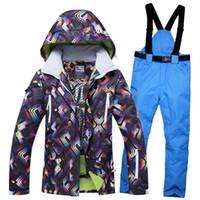 Colorfull Printed Snow Ski Suit Women Waterproof 10000mm Breathable Skiing  Snow Board Jacket And Pants Suit Female Snowboarding dedca74cf