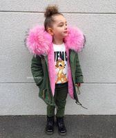 зимняя розовая куртка для девочки оптовых-2018 зимние мальчики куртки для девочек съемная подкладка из искусственного меха для детей розовые пальто Baby Boy дети зимние пиджаки для девочек