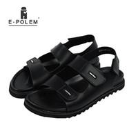 zapatos abiertos de la vendimia para los hombres al por mayor-2017 Nueva Llegada Del Verano de Los Hombres Sandalias Roma Ocio Zapatos de Playa Transpirable Open Toe Moda Vintage Sandalia Negra