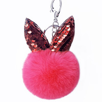 charme d'oreille de lapin achat en gros de-Lapin mignon porte-clés paillettes pompon paillettes oreilles de lapin clés anneaux clé charme femmes sac à main de voiture clé accessoires
