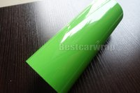 Wholesale low stickers - Gloss Green Vinyl wrap For Car wrap covering With air buhbble free low tack glue Premium quality size :1.52*20M Roll 5x67ft