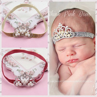 Wholesale Sequin Diamond Hair - Sequin Baby Girls Crown Baby Hair Accessories 2018 New Pearl Shine Diamond Tiaras Infant Hair bows Cute Toddler Headbands C2909