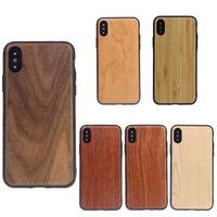 étui iphone plus en bois achat en gros de-TPU Arc Edge Real Case En Bois Couverture En Bois Rétro Protecteur Cas Pour iPhone X Xr Xs Max 8 7 6 6 S Plus