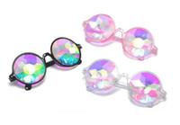 Wholesale plastic party sunglasses - Round kaleidoscope Retro Glasses Women Men Rave Festival Sunglasses Holographic Moasic Glass Colorful Celebrity Party Cosplay Eyewear 2018