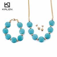 colar de colar de ouro indiano venda por atacado-Kalen moda indiano cor de ouro mulheres conjuntos de jóias de aço inoxidável azul colar de contas colar conjuntos de brincos pulseira africano
