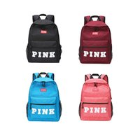 Wholesale metal letters for bags - 2018 Student 4 Color PINK Letter Backpacks Female Large Travel Backpack For School Bag Outdoor Travel Bags Storage Bags