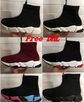 Wholesale knitted square - Free DHL Original quality+With box 2018 New Speed stretch-knit Mid women men Casual shoes shoes Speed training knit Mid black sneakers
