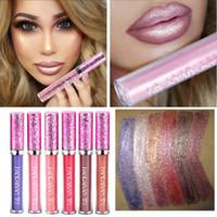 Wholesale Lipstick Tattoos - Brand Makeup HANDAIYAN Diamond Shine Metallic Lipstick Charming Long Lasting Tattoo Liquid Lipstick Glitter Powder Lip Gloss