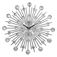 cristaux d'art en métal achat en gros de-Horloge murale en cristal décoratif chaud horloge créative en métal Sunburst pour la maison Art Decor Diamètre 13 pouces