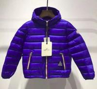 ingrosso giacca invernale lunga unisex-lunga A manica corta per bambini giù giacca invernale nuova piume d'anatra bianca imbottita con cappuccio cerniera petto sezione calda 1 pz WX ZHU