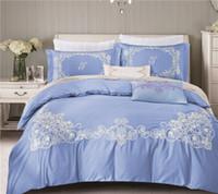 Wholesale Pink Lace Bedspreads - Bed Linen 4Pcs Egyptian cotton lace Bedding Sets King Queen Size Bedspread Duvet Cover Bed sheet housse de couette