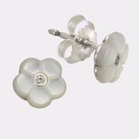 boucle d'oreille mère perle fleur achat en gros de-Boucles d'oreille fleur en nacre S925 argent ajustement pour bracelet style pandora 290698MOP H8ale