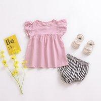 sevimli yaz stilleri toptan satış-Yaz Tarzı Moda Sevimli Yeni Bebek Kız Büyük Saf Renk Mini Dantel Elbise Bebek Kolsuz Parti Elbise KA850