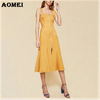 robes midi jaunes dames achat en gros de-Robe d'été jaune serré pour les femmes Jaune Noir Fit Moulante Casual Mode Lady Slim avec Zipper Strap Crayon Robes réservoir