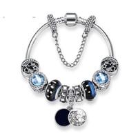 pulseras de cuentas personalizadas al por mayor-Nuevas pulseras de dijes Blue Sky Beads Bracelet 925 Pulseras de plata retro viento nacional esmalte de cuentas de luna Diy Joyería con logotipo personalizado