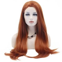Wholesale beautiful long hair women resale online - Hot Selling Beautiful Long Natural Straight Synthetic Lace Front Wig Glueless Auburn High Temperature Heat Resistant Fiber Hair Women Wigs