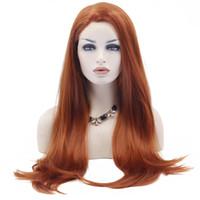güzel uzun saçlı kadınlar toptan satış-Sıcak Satış Güzel Uzun Doğal Düz Sentetik Dantel Ön Peruk Tutkalsız Auburn Yüksek Sıcaklık Isıya Dayanıklı Fiber Saç Kadın Peruk