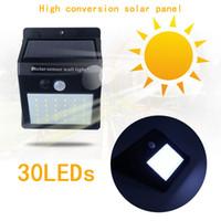 ingrosso giardini luci-Impermeabile 35LEDs Pannelli solari a luce solare Sensore di movimento PIR Sensore di movimento a LED Lampada da parete a luce solare per esterni