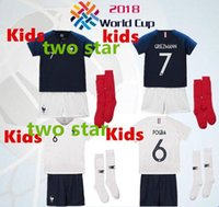 Wholesale star t - two star Fr soccer jerseys kids kit POGBA GRIEZMANN KANTE Mbappe Football t shirts 18 19 Fr kids National Team home away Soccer Jerseys