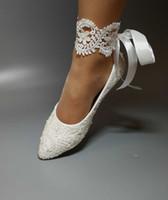 novias vestidos de mariposa al por mayor-Zapatos de boda A prueba de agua vestidos de novia blanco novia Edición de diamante encaje manual boda plana zapato hembra mariposa