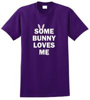 costume de lapin de pâques achat en gros de-Custom Shirt Design manches courtes cadeaux de Pâques Certains lapin m'aime cou ras de cou Fashion 2018 Tees pour les hommes