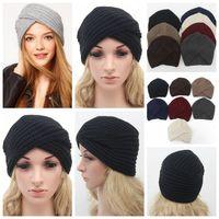 Wholesale hat wool felt woman for sale - 6styles Knitted winter cross hat  women felt hat ad78c4b58838