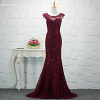 Wholesale cheap cotton maternity dresses - Elegant Capped Sleeves Evening Dresses Floor Long Top Quality Sequins Lace Sexy Evening Party Dress Custom Made Cheap Evening Dresses