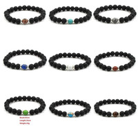 Wholesale Elastic Bracelet String - 10 colors Natural Black Lava Stone Beads Elastic Bracelet Essential Oil Diffuser Bracelet Volcanic Rock Beaded Hand Strings