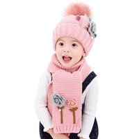 Wholesale Thick Knit Scarf Sets - Age 1-7 Kids Winter Knitted Hat Scarf Set Pompom Hat Sets For Girls Boys Fashion Flower Children Thick Warm and Scarf Sets