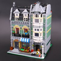 Wholesale chilren toys resale online - 15008 Classic Modular Creators Green Grocer Buildings Blocks Bricks Toys Model for Chilren Holiday gifts