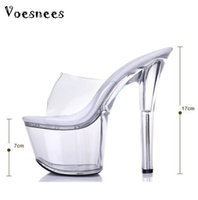 Wholesale 16 cm heels - sandals summer 2015 crystal slipper ultra high heels 16 cm transparent waterproof cool slippers fine with big yards women's shoe