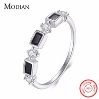 Wholesale Rectangle Wedding Rings - whole saleModian Hot Rectangle Black Zirconia Crystal Fashion Finger Ring 100% 925 Sterling Silver Wedding Rings For Women Wedding Present