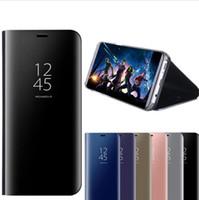 ledertaschen für brombeere großhandel-Smart Flip Ledertasche für Samsung Galaxy Note 10 Plus S10 5G S10E Note 9 S8 S9 Plus A10 A30 A50 A70 A40 A20E A80 Spiegelansicht Fallabdeckung