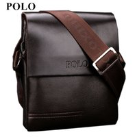 Wholesale mini briefcase men - New Arrived POLO Genuine leather men's messenger bag mini fashion shoulder bag cross body business briefcase Free Shipping