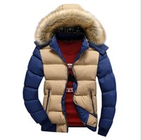 Wholesale Mans Fur Hood - men's winter feathers cotton clothes Slim youth casual hooded cotton jacket thicken outwear with hood fur