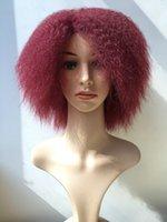 kırmızı peruk kanekalon toptan satış-Peruk 6 Inç Kırmızı Saç Sentetik Kısa Kanekalon Kıvırcık Siyah Kadınlar için Afro Peruk Kabarık Peruk