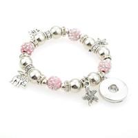 Wholesale cheap european charm beads - wholesale cheap hot DIY Snap Bracelet Elasticity Beads Bracelet Fit 18mm Snap Button For Women Jewelry B91